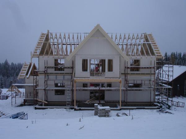Montering av hus i Valdres